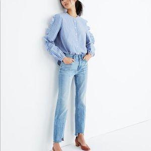 NWT Madewell Blue Striped Frill Sleeve Shirt